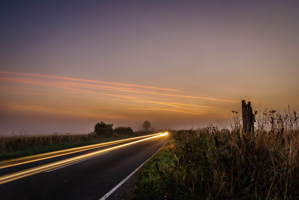 Misty light trails