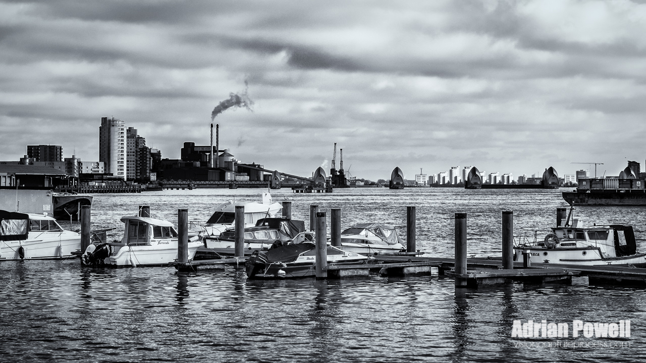 River Thames - Boats and Thames Barrier